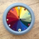 Knitted Rainbow Colour Wheel Clock