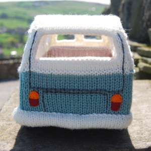 Knitted campervan rear view