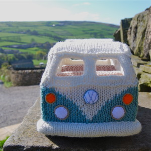 knitted campervan front view