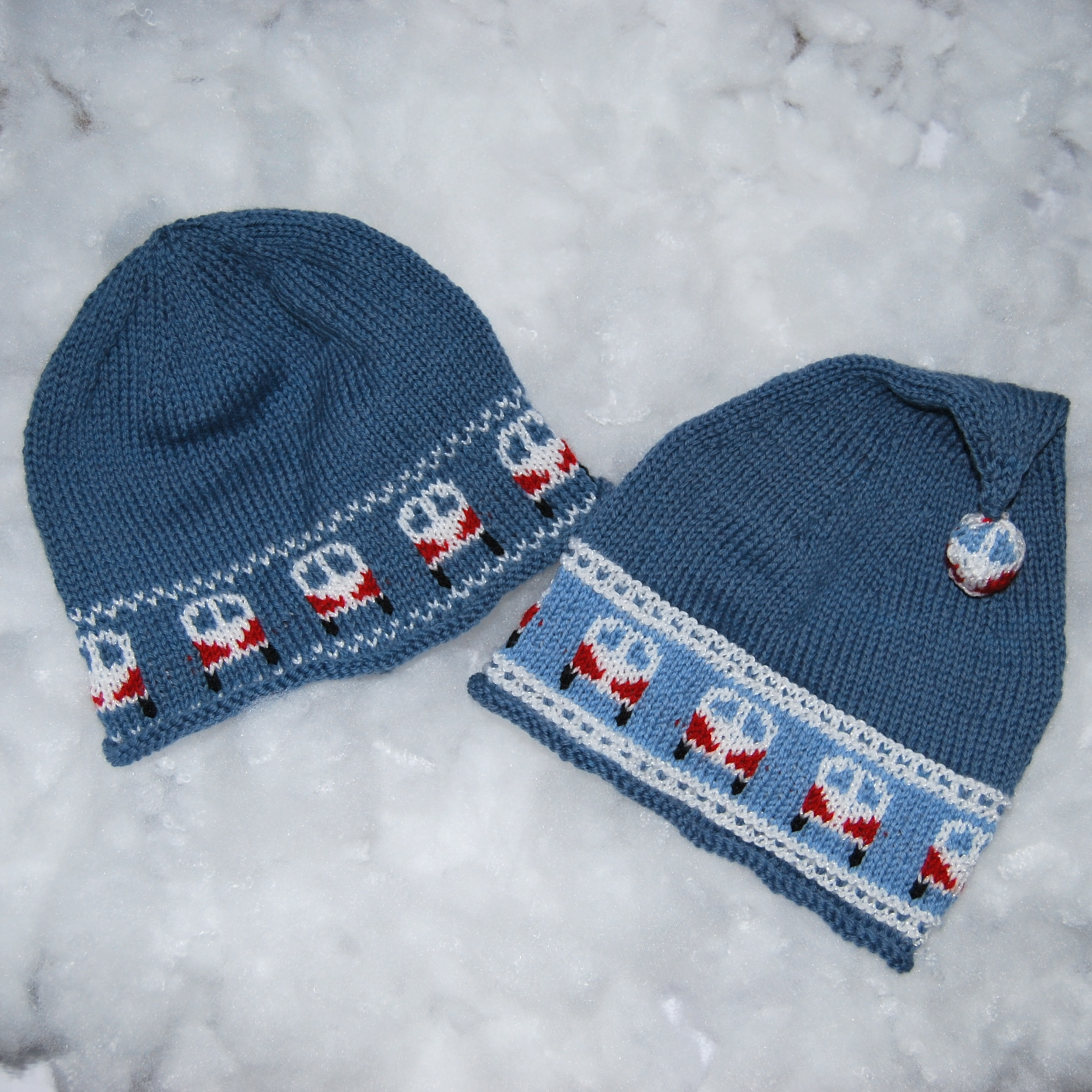PDF Knitting Pattern for a Beanie   Bobble Hat with Campervan Borders f5538f59bb8
