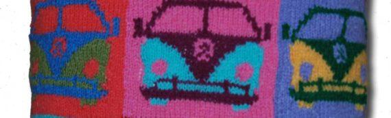 Stash busting Pop Art campervan cushion cover