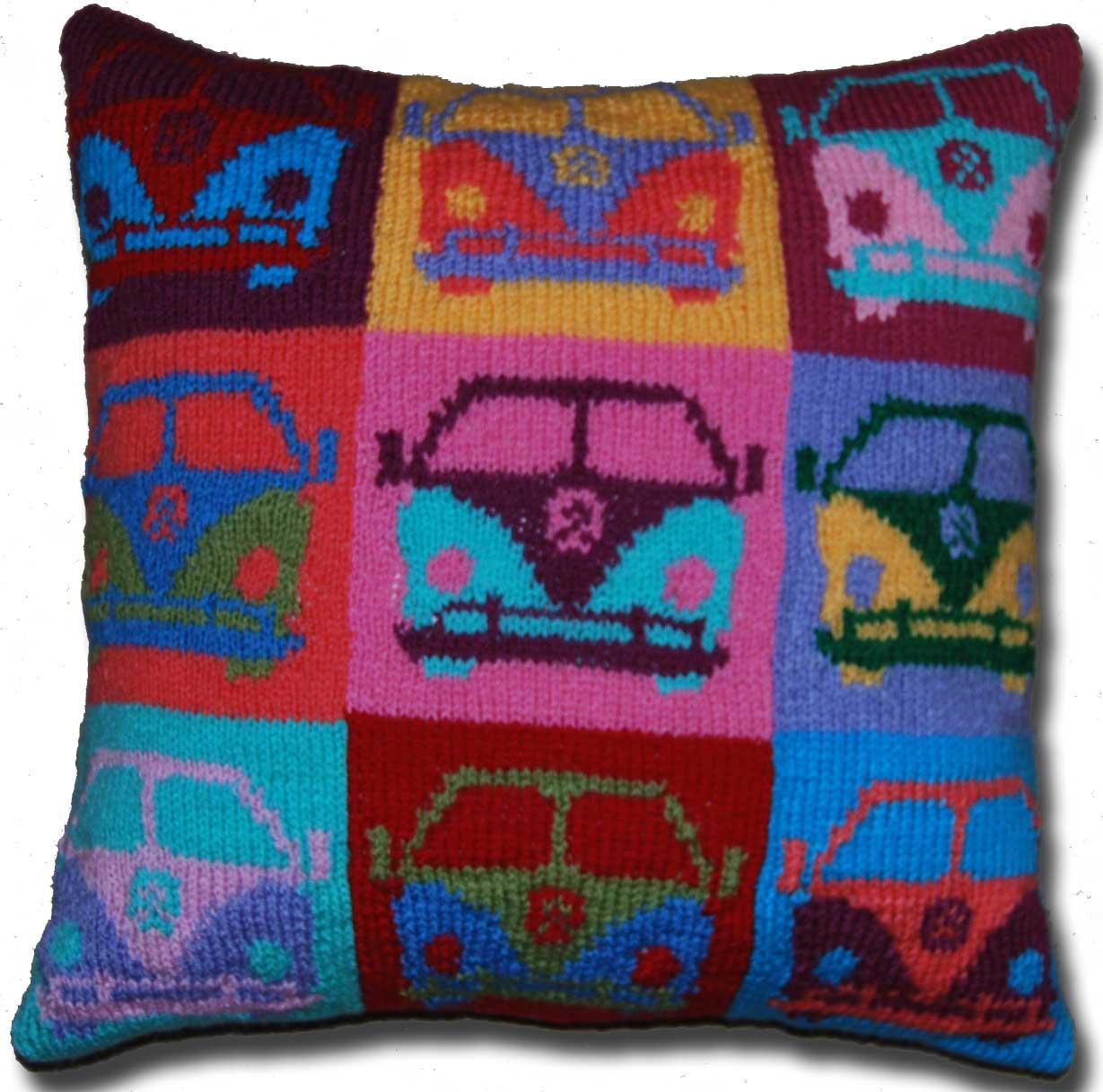 Pop Art Campervan Cushion PDF Knitting Pattern - Slightly Sheepish