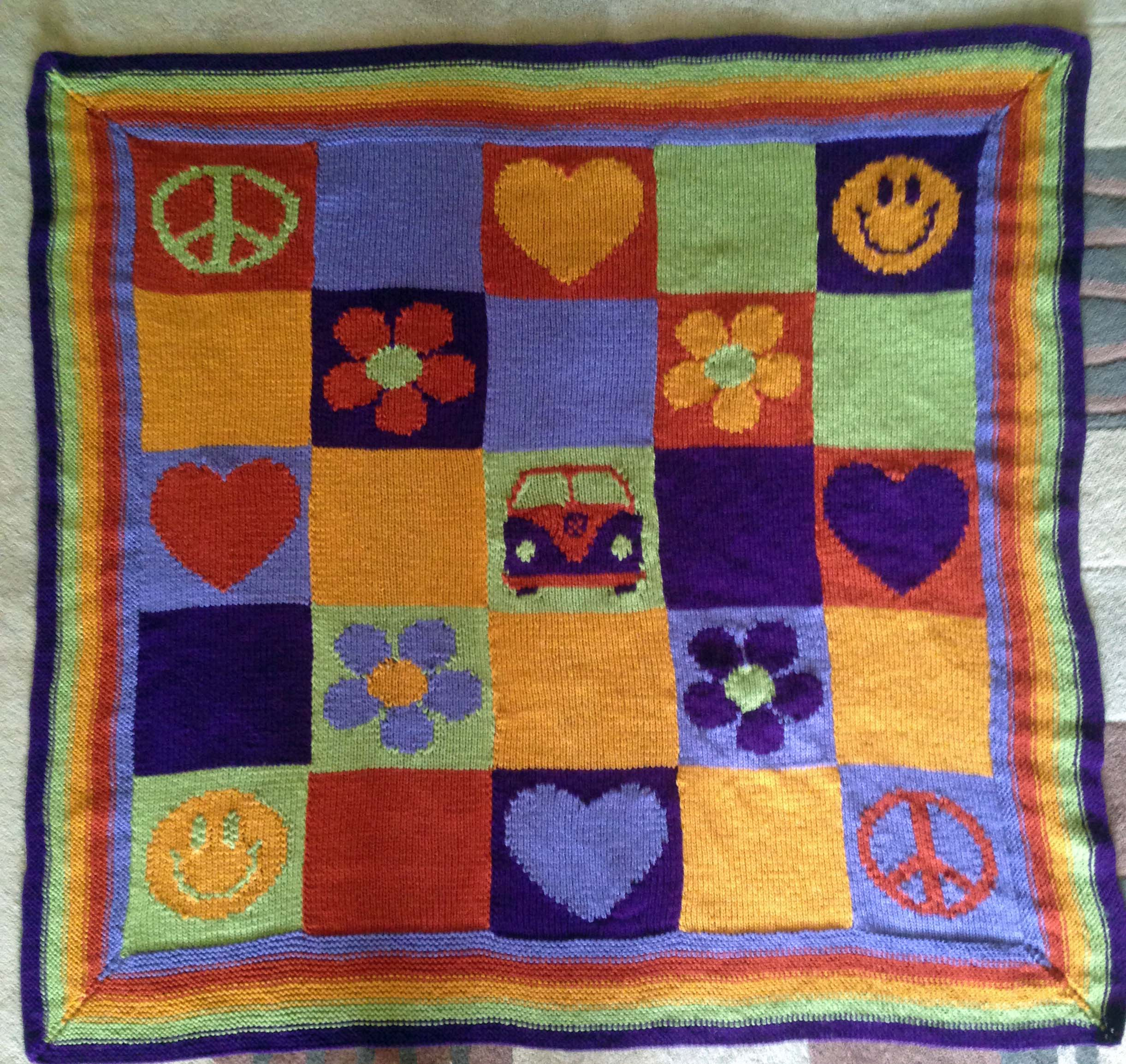Knitting Pattern for Peace, Love, Happiness & Campervans Blanket ...