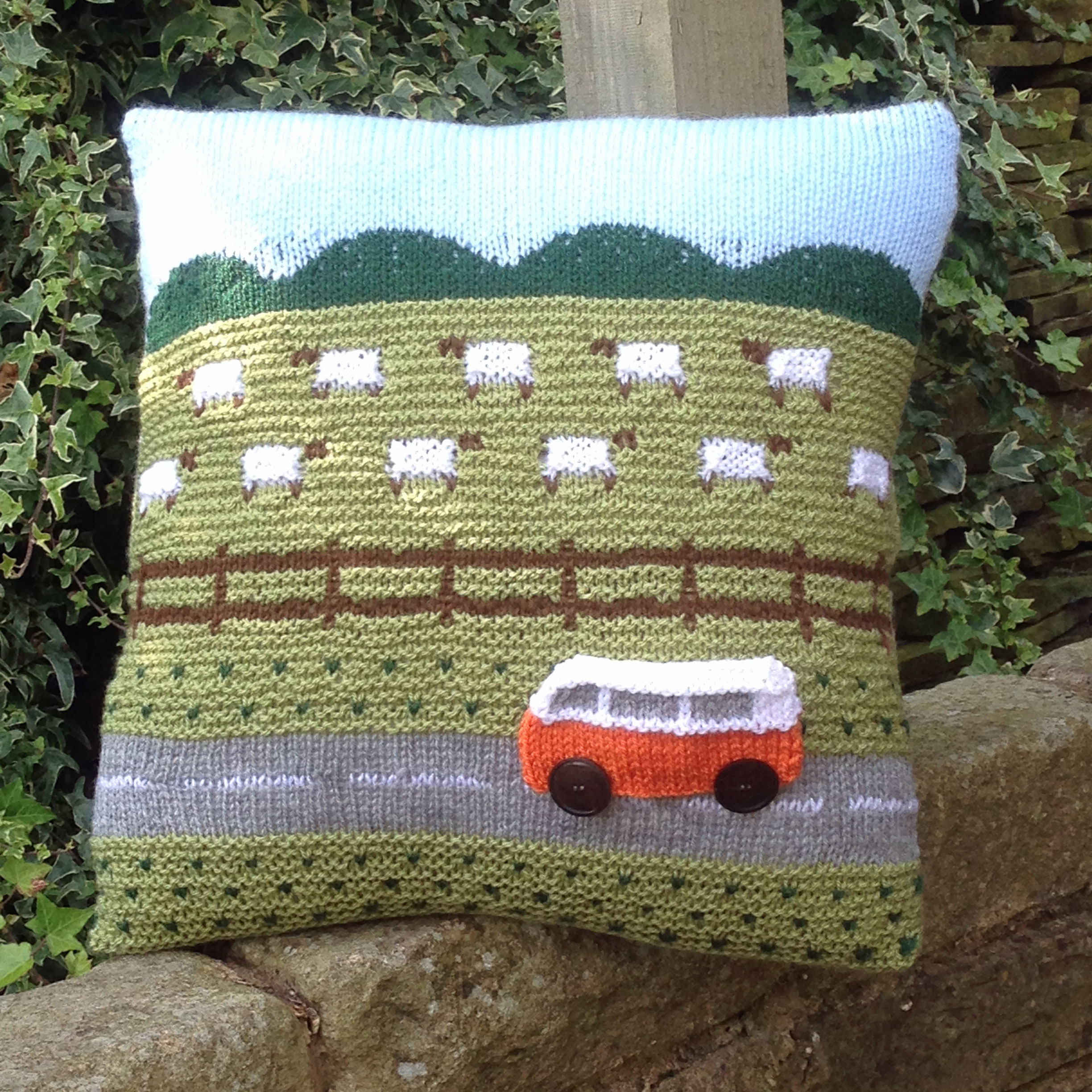 Knitting Pattern for Campervan Travels Countryside Cushion ...