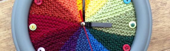 Knitted Rainbow Colour Wheel Clock