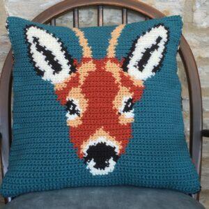 Roe Deer Crochet Cushion Cover Pattern